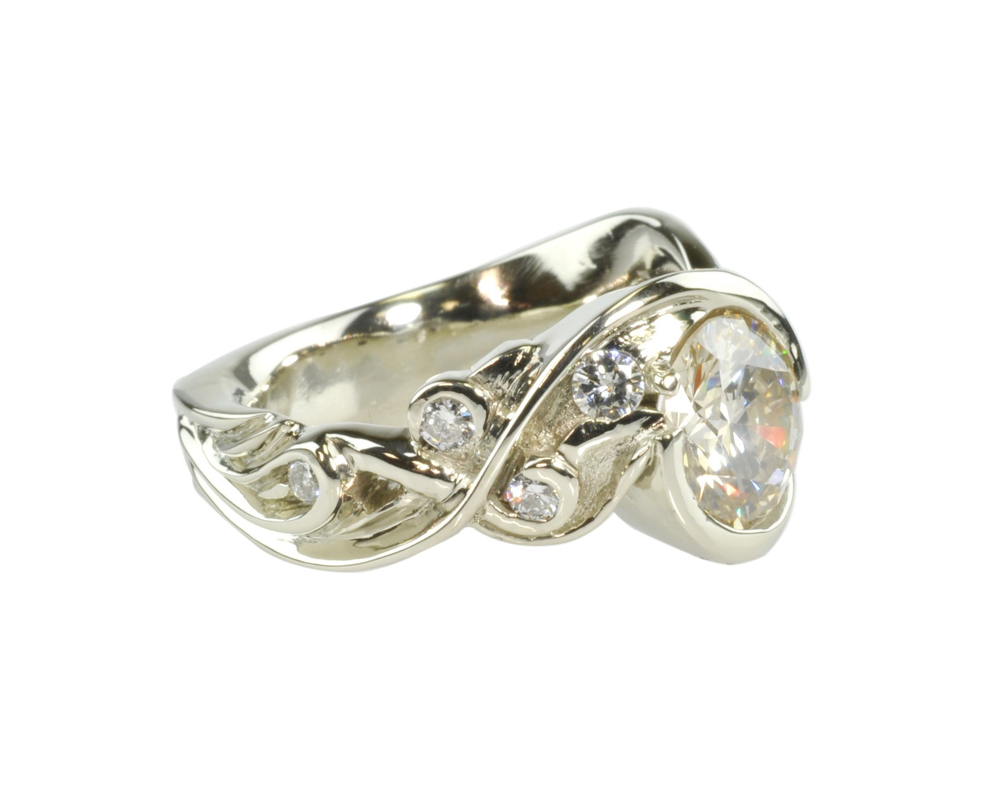 Waylon Rhoads Original 14k White Gold Ring with 2.5ct. Diamonds Center