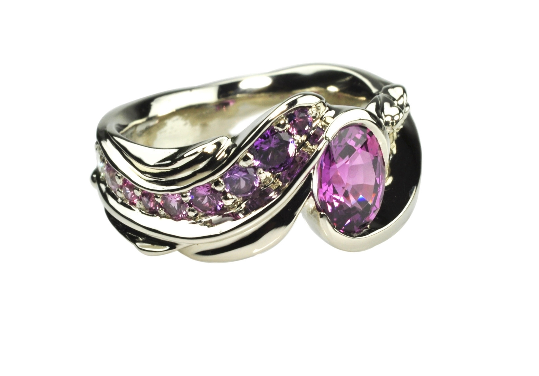 14k White Gold Ring with Pink and Purple Sapphires