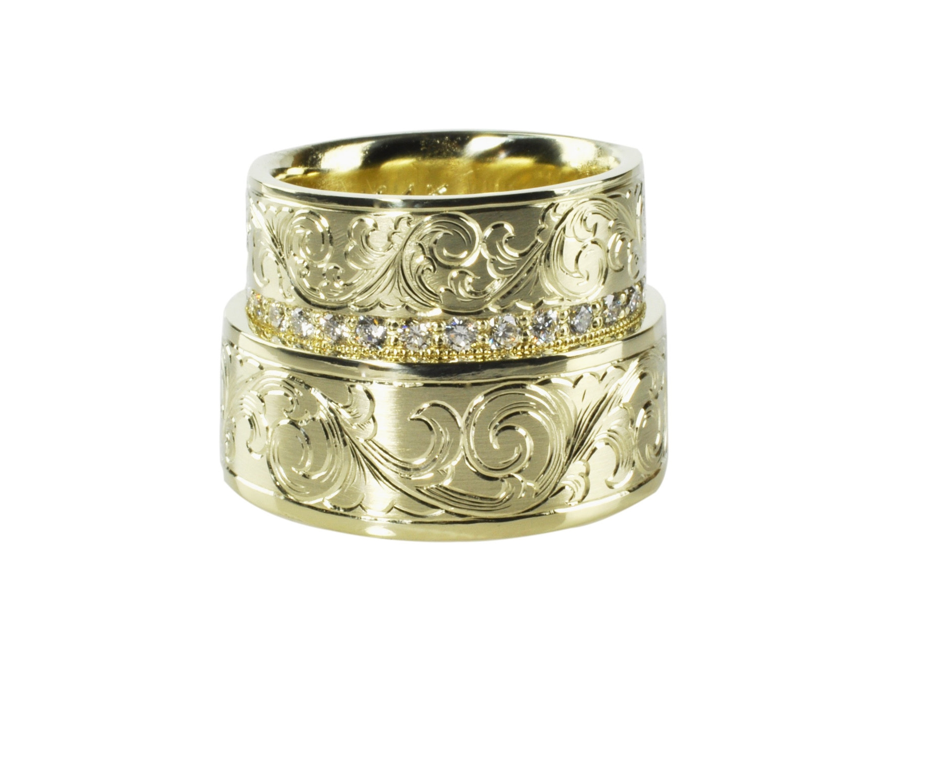 Hand Engraved 14K Green Gold Wedding Set with Diamonds