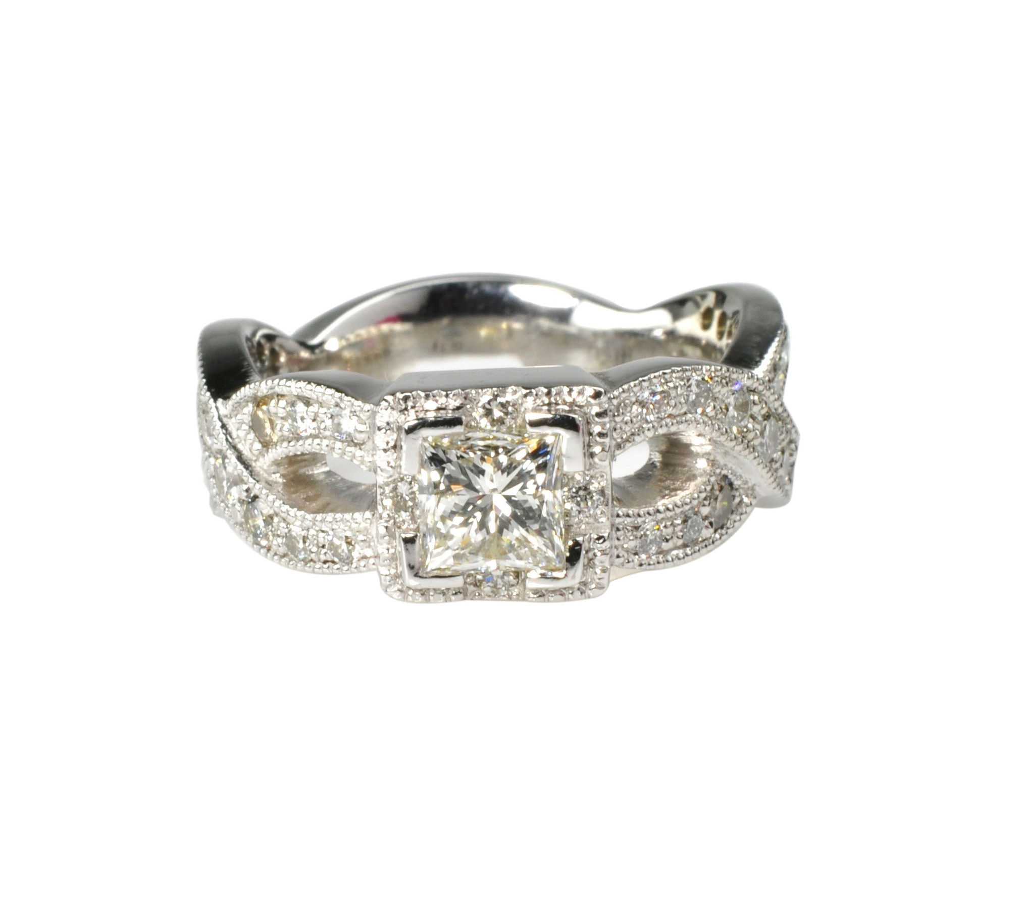 14k White Gold Princess Cut Ring with Diamonds