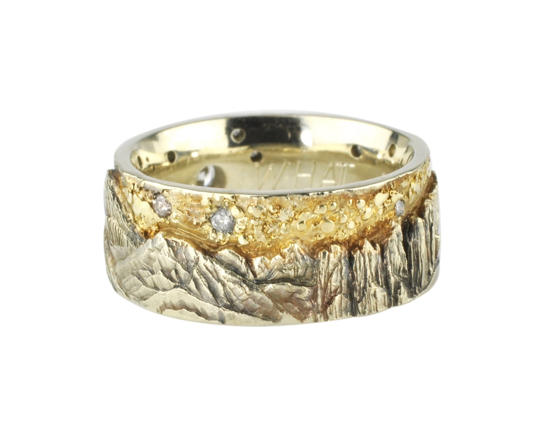 14k White Gold Mt. Whitney Landscape Ring with 18k Gold Fusion