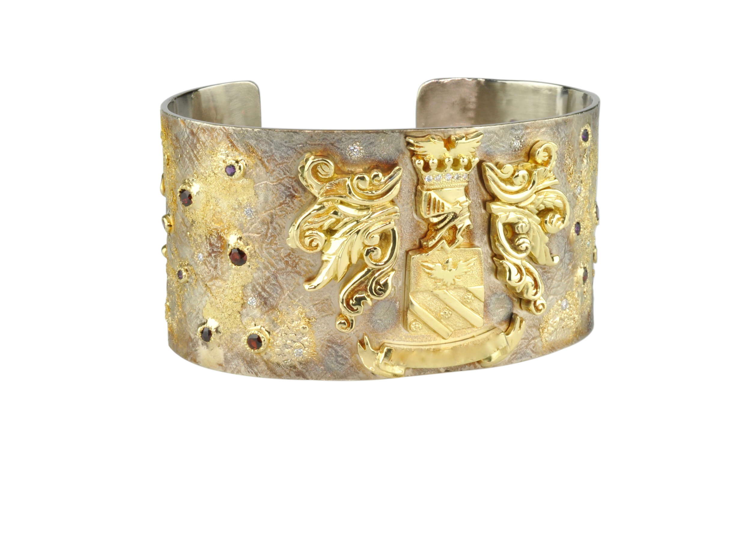White and Yellow Gold Royalty Cuff with Pyrope Garnets and Diamonds