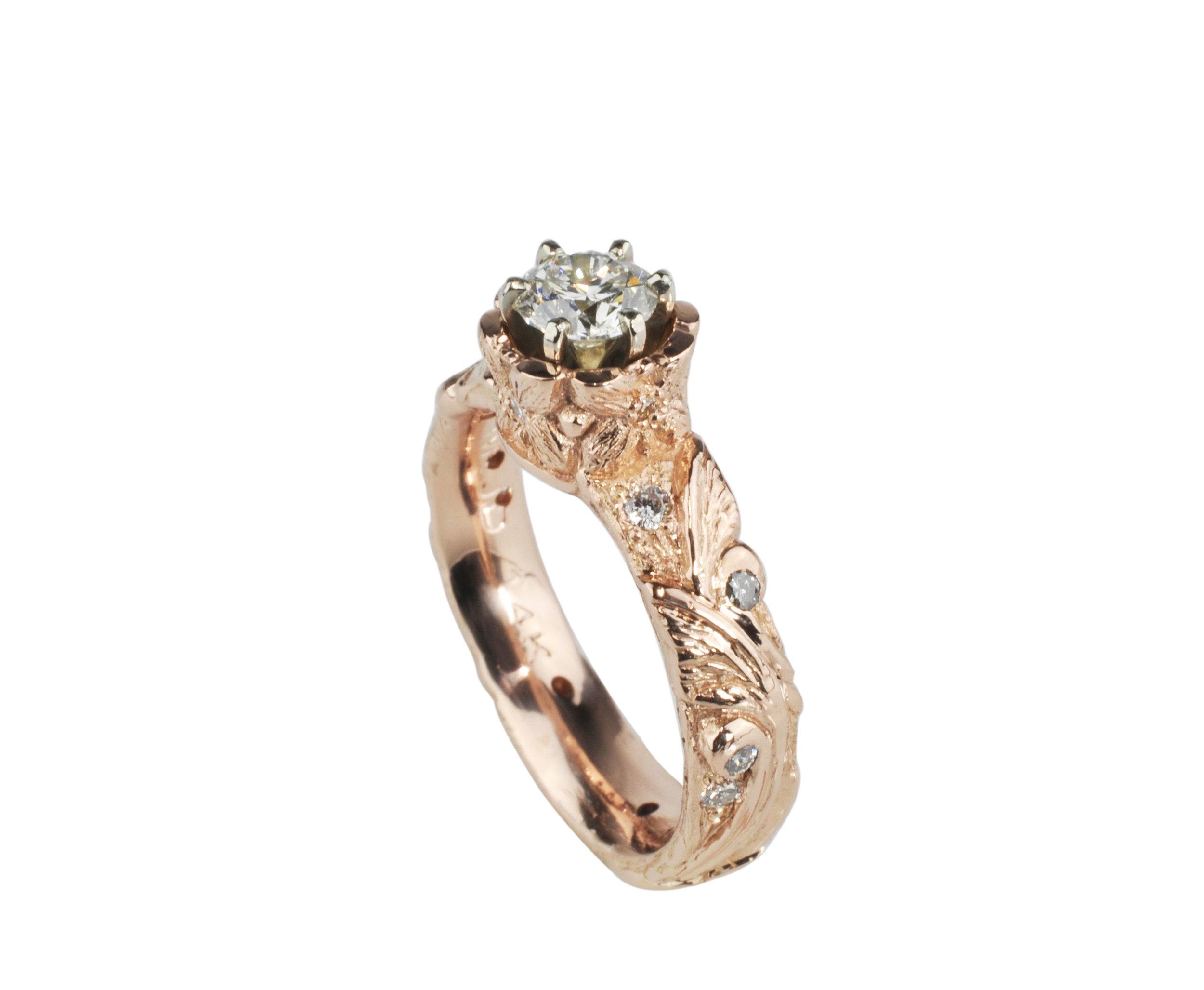 14k Rose Gold Flower and Vines Ring