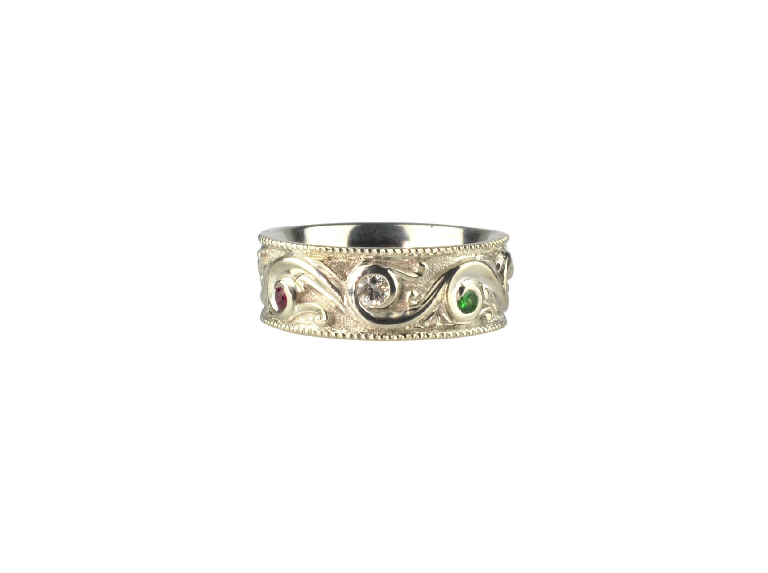 Sculpted Scroll Band with Diamond, Ruby and Emerald