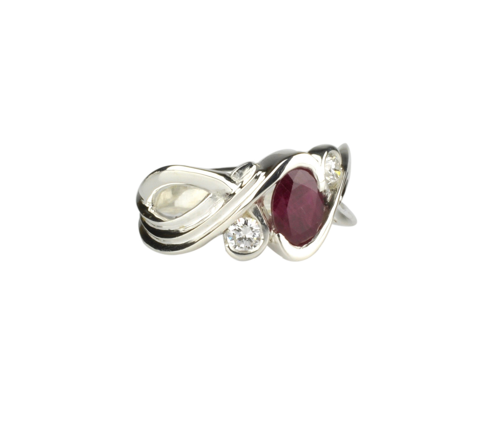 Sterling Silver Ring with Ruby and Diamonds