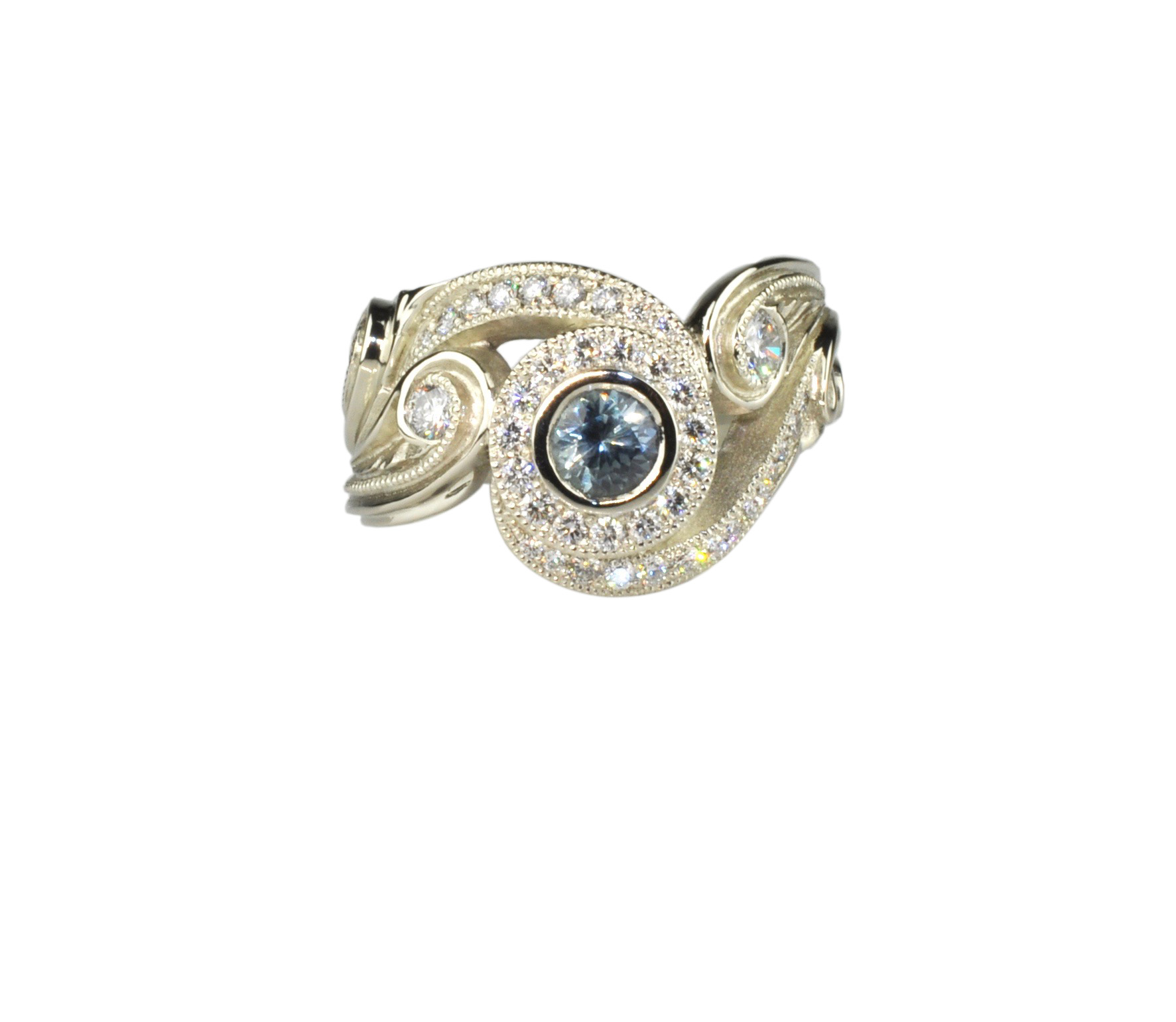 18k White Gold Band with Montana Sapphire and Diamonds