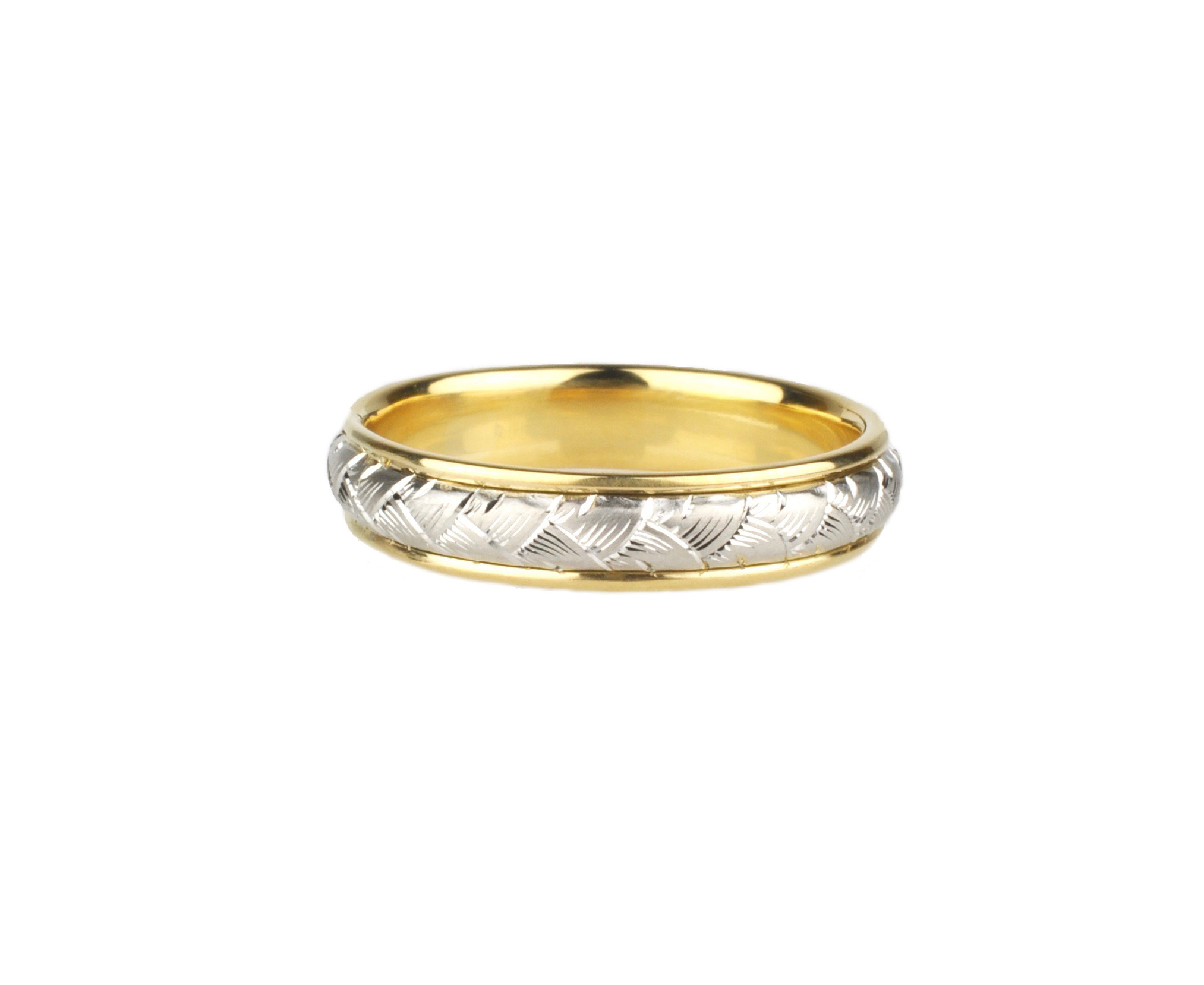Hand Engraved Platinum and 18k Gold Band