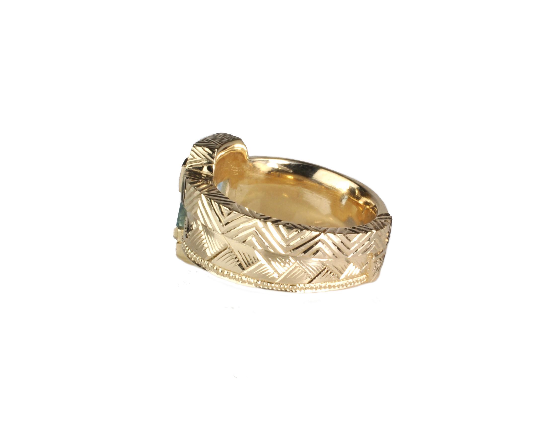 Hand Engraved 10k Waylon Rhoads Original Ring with Aquamarine