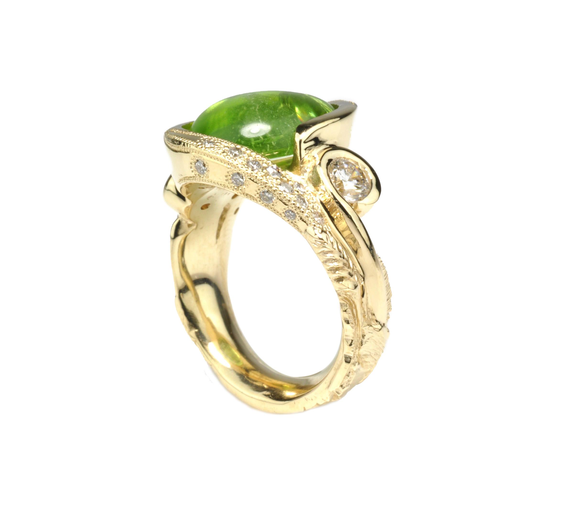 Waylon Rhoads Original 10k Gold Ring with Peridot and Diamonds