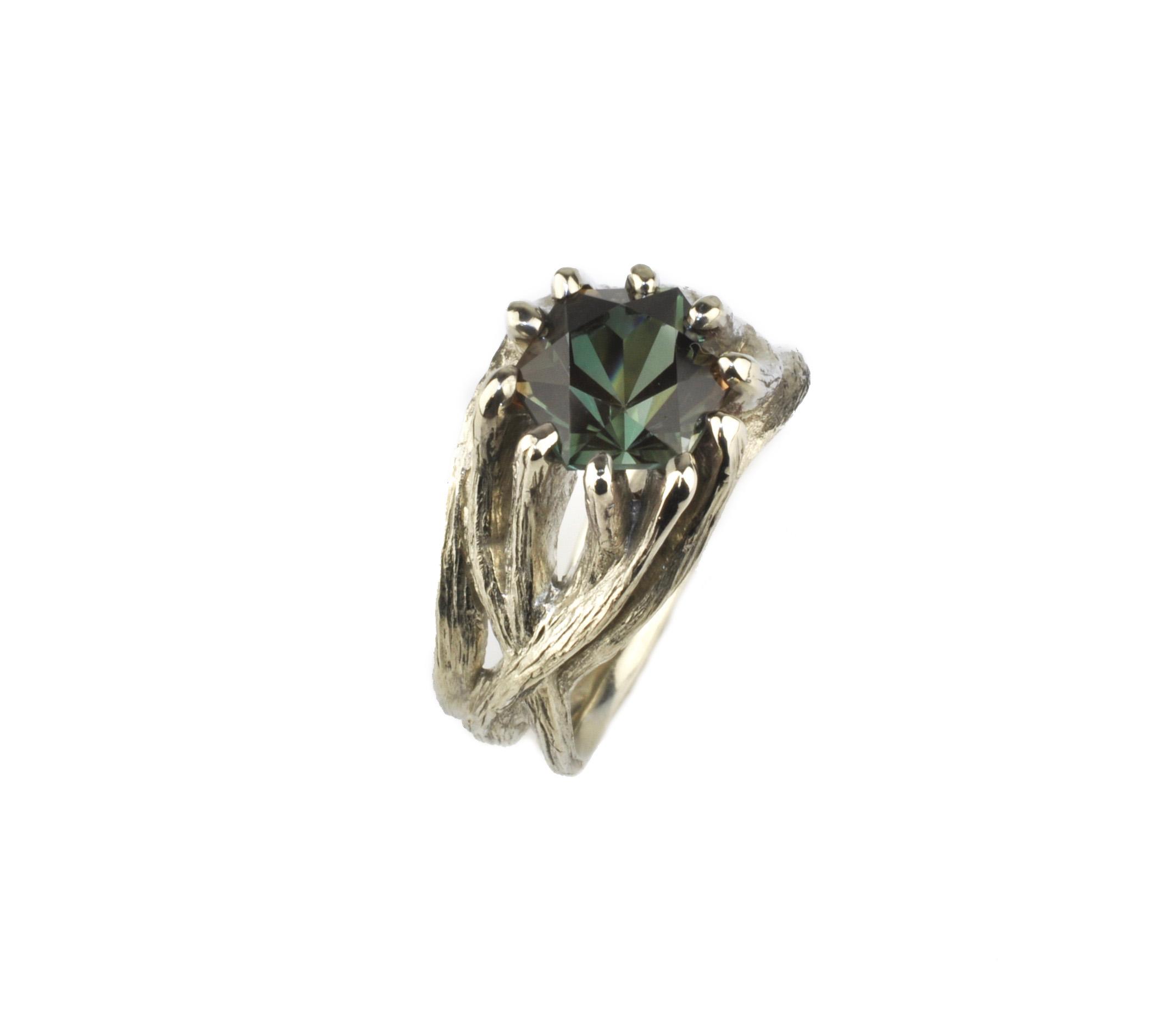 Waylon Rhoads Original 14k White Gold Tree Ring with Oregon Sunstone
