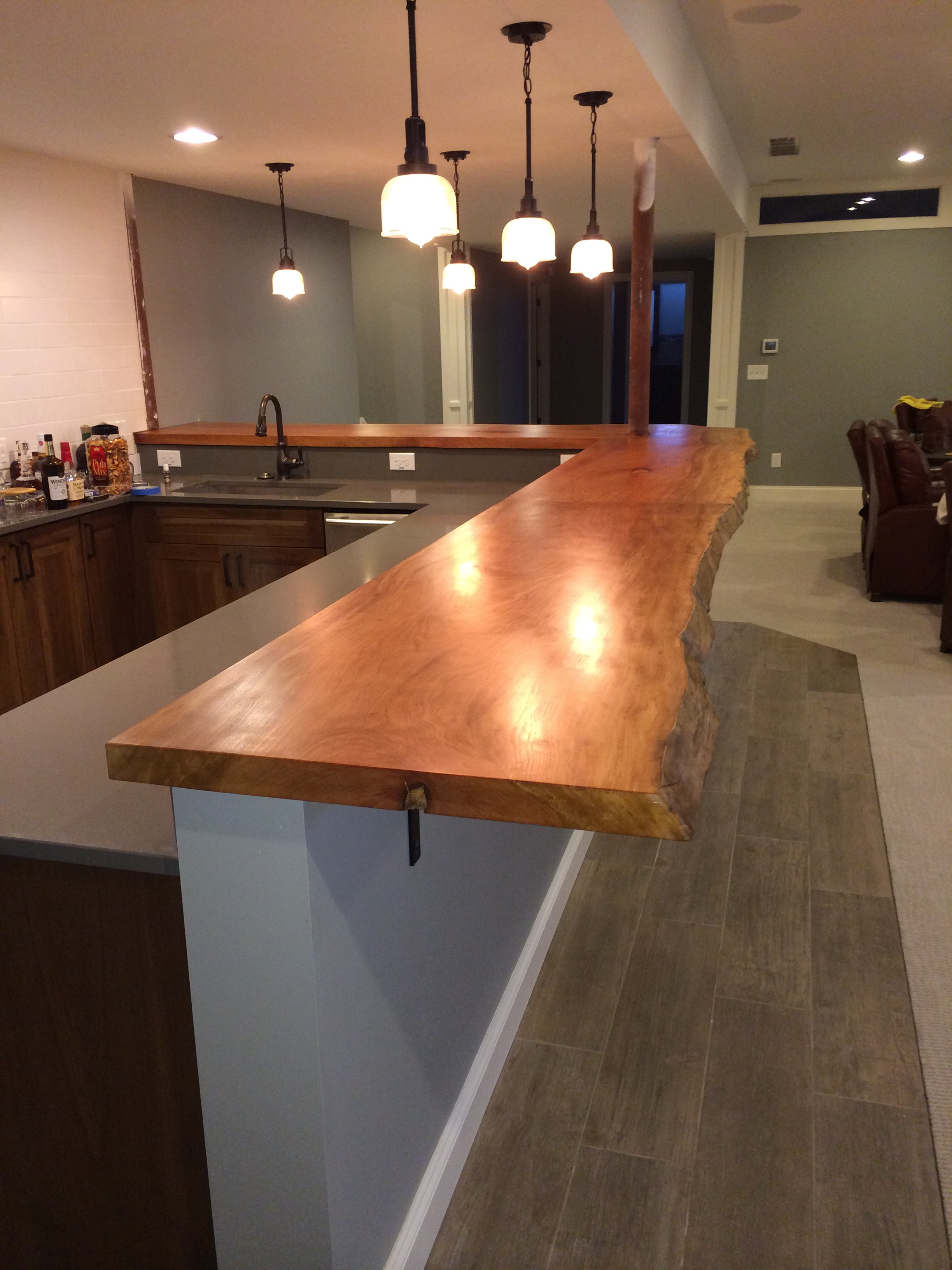 Custom live edge sycamore bar top