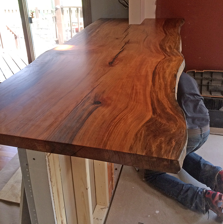 live edge quarter sawn sycamore kitchen counter top