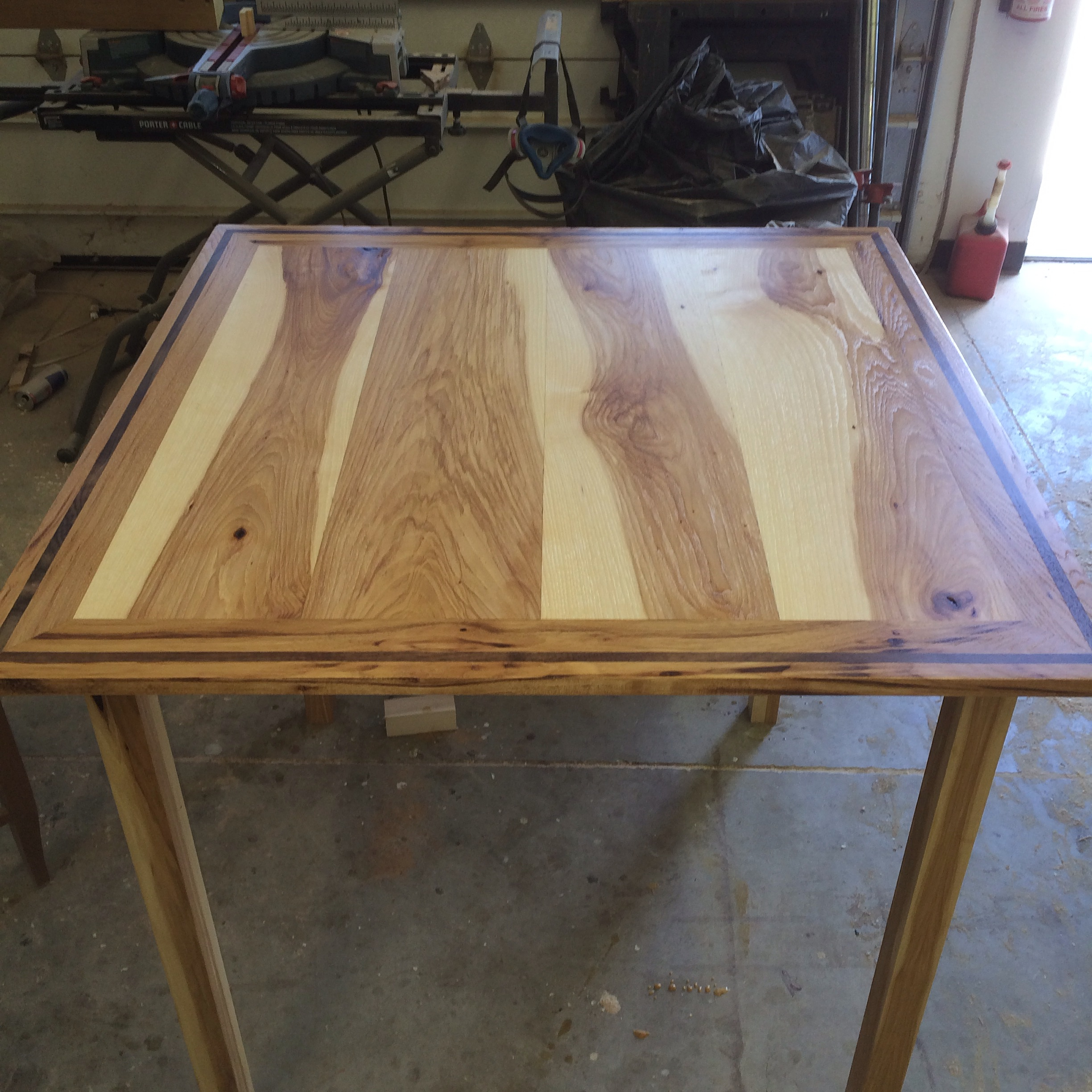 Hickory kitchen table with black walnut inlay