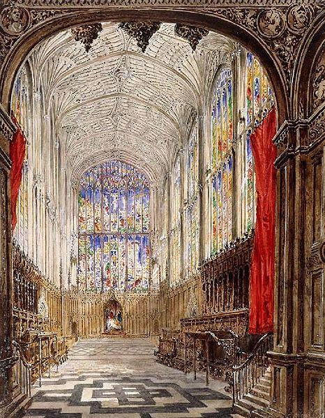 Joseph Murray Ince,  King's College Chapel, Cambridge   (1843)