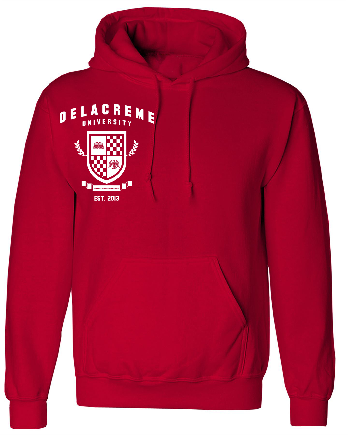 the delacreme univeristy hoodie -cherry red