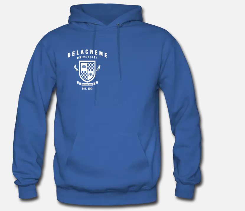 the delacreme university hoodie - blue demon