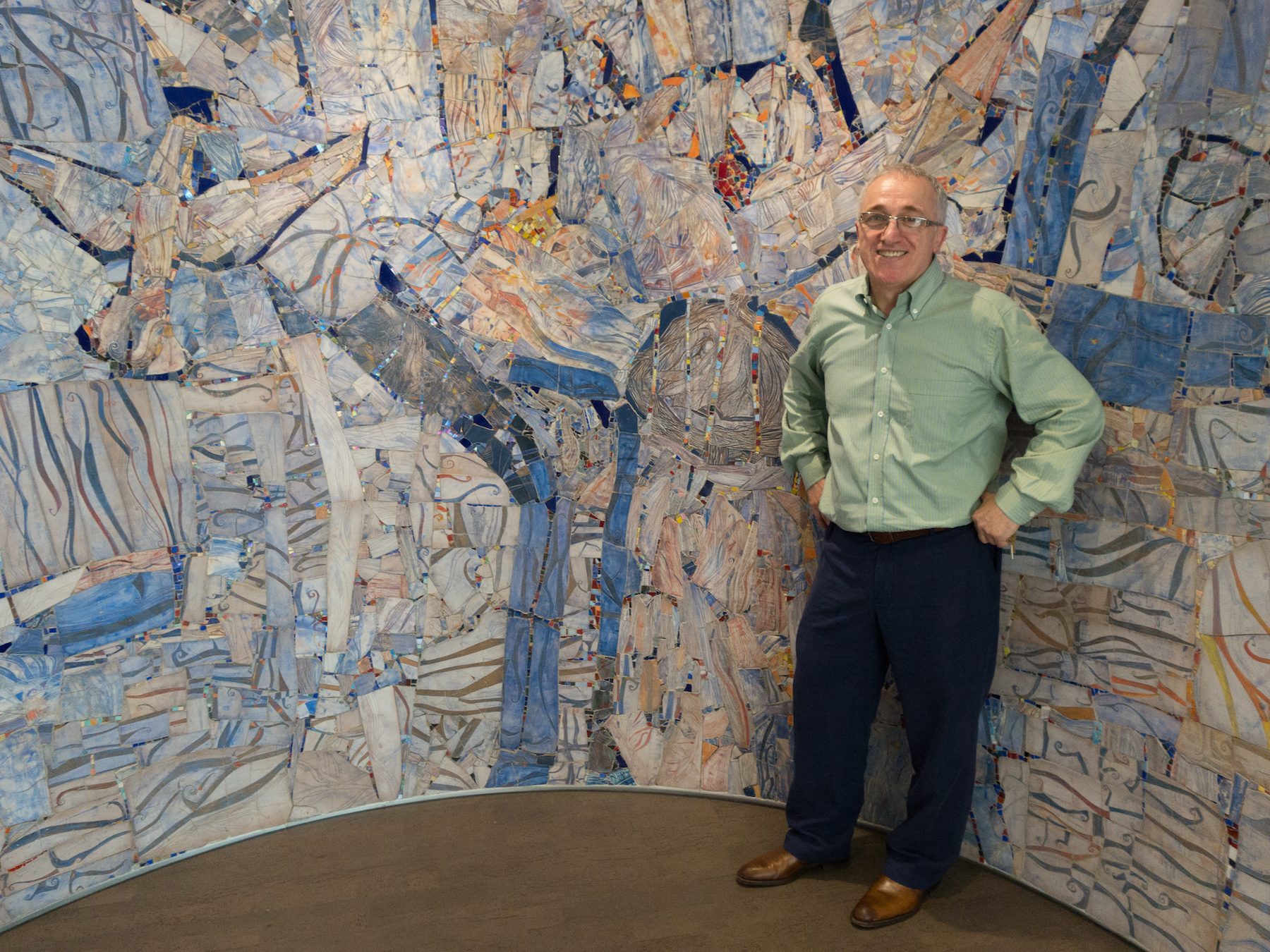 Daud Akhriev at the unveiling of the Erlanger Hospital all-faith chapel mosaic, Sept. 11, 2015.