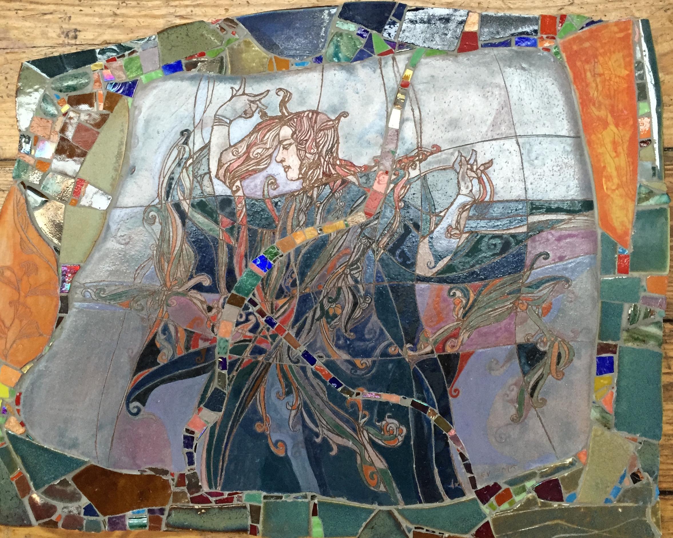 Hand-made tiles, iridescent glass, Italian smalti / 16 x 20 inches