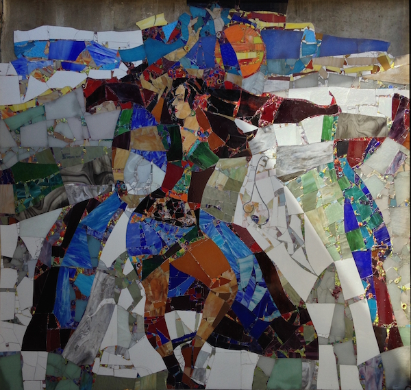 Stained glass and blown glass shards/ 12 x 14 feet / private collection / photo Virginia Webb