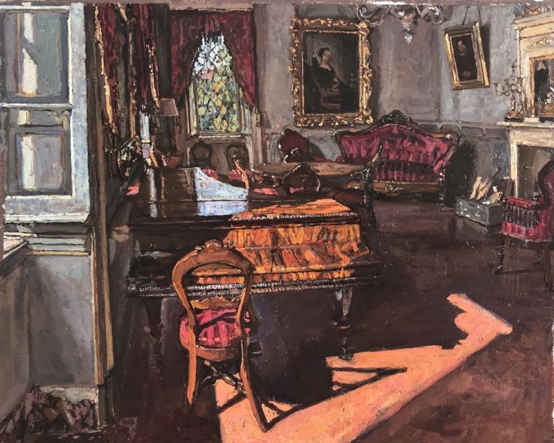 """""""Grandfather's Piano"""" by Akhriev in oil, 2018 at Villa Vitalba"""