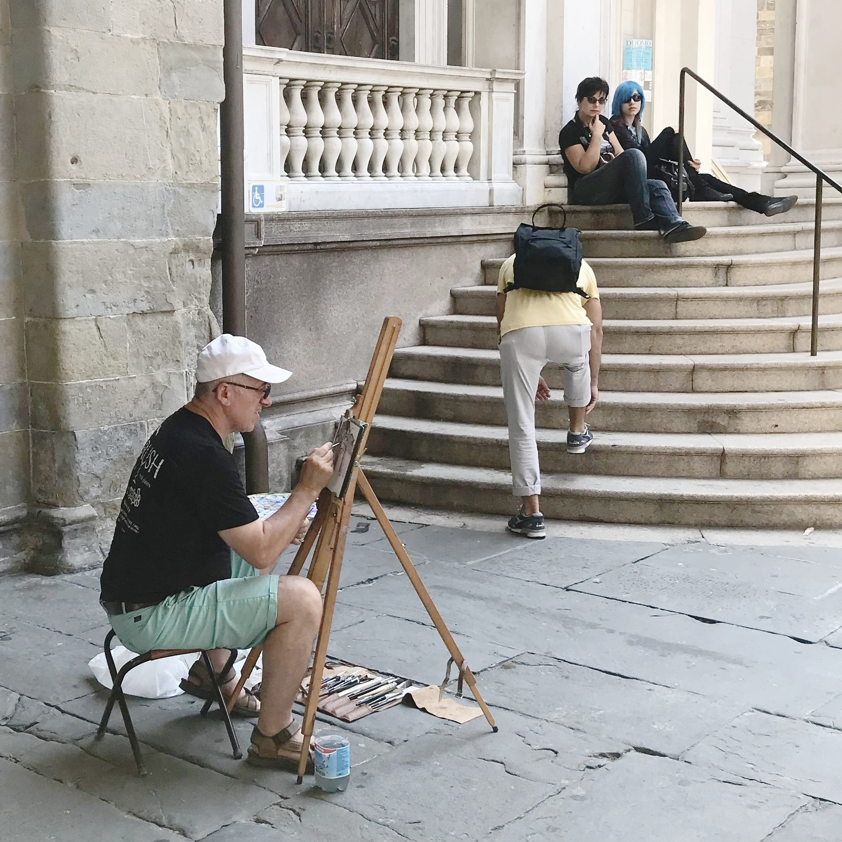 Painting a watercolor of the Bergamo Cathedral earlier this year.