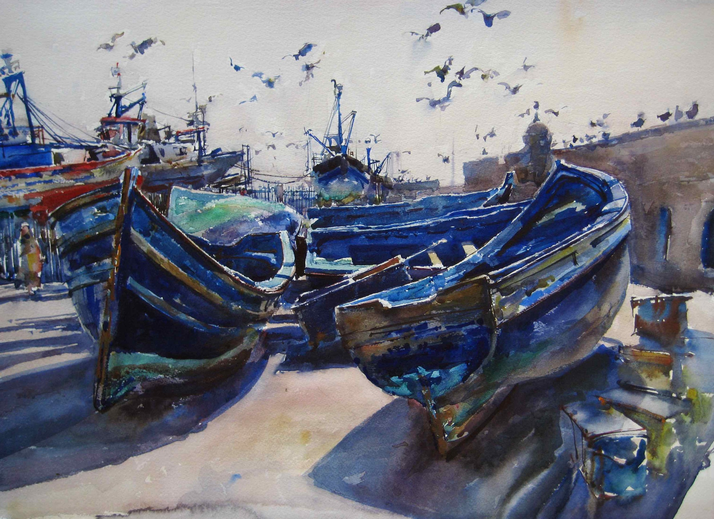 Birds and Boats, a watercolor from Morocco.