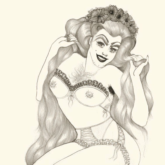 Happy Friday ✨ • • • • • • #art #illustration #drawing #ink #pencil #femme #hair #mermaid #costume #wip #fantasy #myth #bodypositivity #fashion #bodyhair #drag #queer #portrait #pinup
