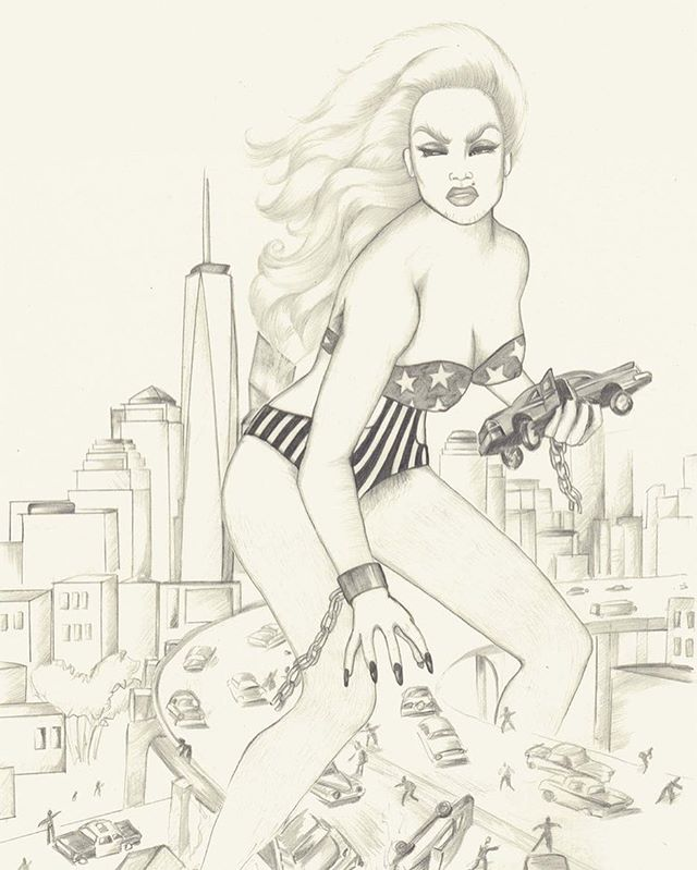 "She's gone rouge ~ pencil/paper 17""x24"" • • • • • • • #pinup #attackofthe50ftwoman #drag #pinupgirl #pinupgirl #art #illustration #myrabreckinridge #raquelwelch #barbarella #glamazon #feminism #femme #femmefatale #bywomenforwomen #hbic #fashion #newyork #comics #erotic"