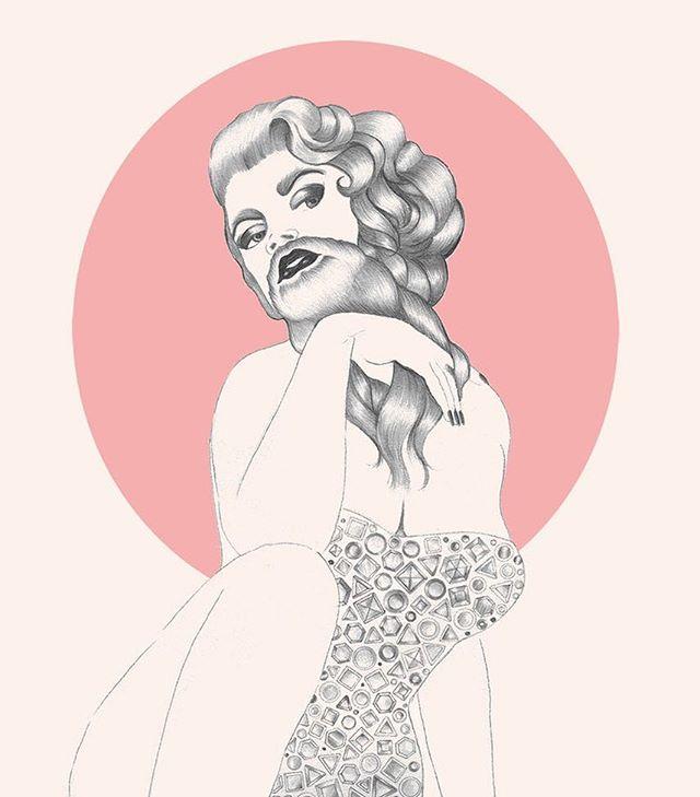 Pencil illustration ~ Harietta Heartbreaker ~ from Hirsute Heroines Volume 3 • • • • • • • #dragqueen #burlesque #pinup #tattoo #femme #facialhair #queer #illustration #art #zine #feminist