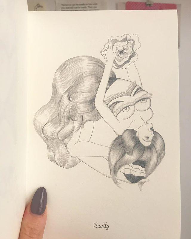Scully ~ pencil illustration from Hirsute Heroines Volume 3. • • • • • • • • • • • • #illustration #burlesque #fashion #pinup #flash #tattoo #drawing #queer #feminist #bodyhair #hirsuteheroines #eroticart #erotic #print
