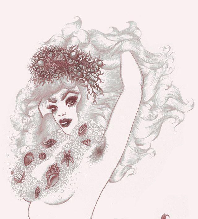 Detail of Smizely Siren ~ pencil 🧞♀️sketch from Hirsute Heroines Volume 2 ~ #mermaid #pinup #burlesque #illustration #queer #bodypositive #unibrow #siren #hirsuteheroines #hirsutismo #bodyhair #pencildrawing #print #art #drawing #drag