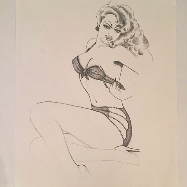 Hirsute Heroinda ~ from Hirsute Heroines Volume 3 ~ #pinup #burlesque #portrait #art #illustration #femme #unibrow #bodyhair #queerart #drag #hirsuteheroines #drawing #originalart #bodypositive #ink