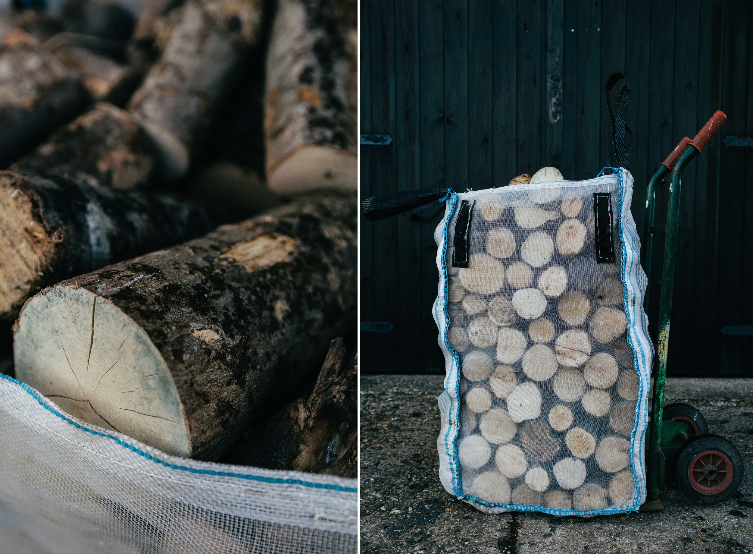 Small bags of firewood