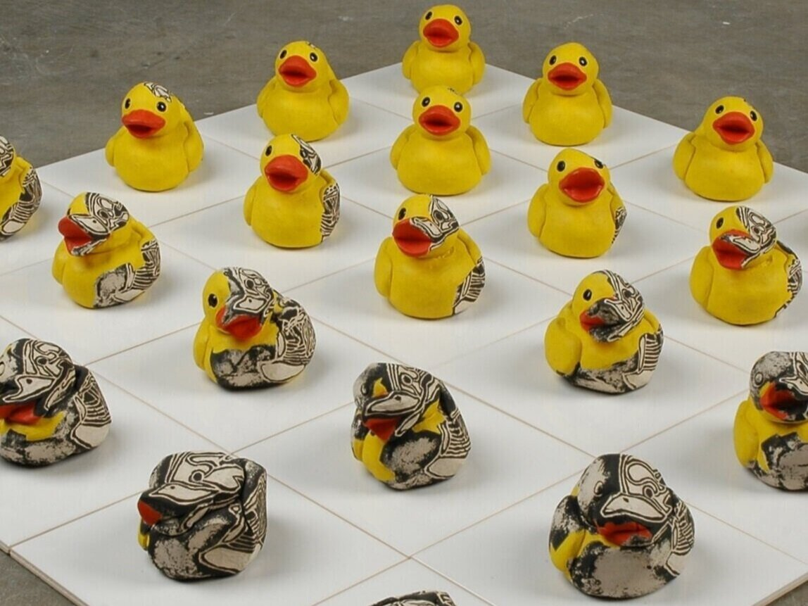 Dryden Wells, Deconstruction of My Rubber Ducky (detail), earthenware & industrial porcelain tiles, 2006. Courtesy of the artist.