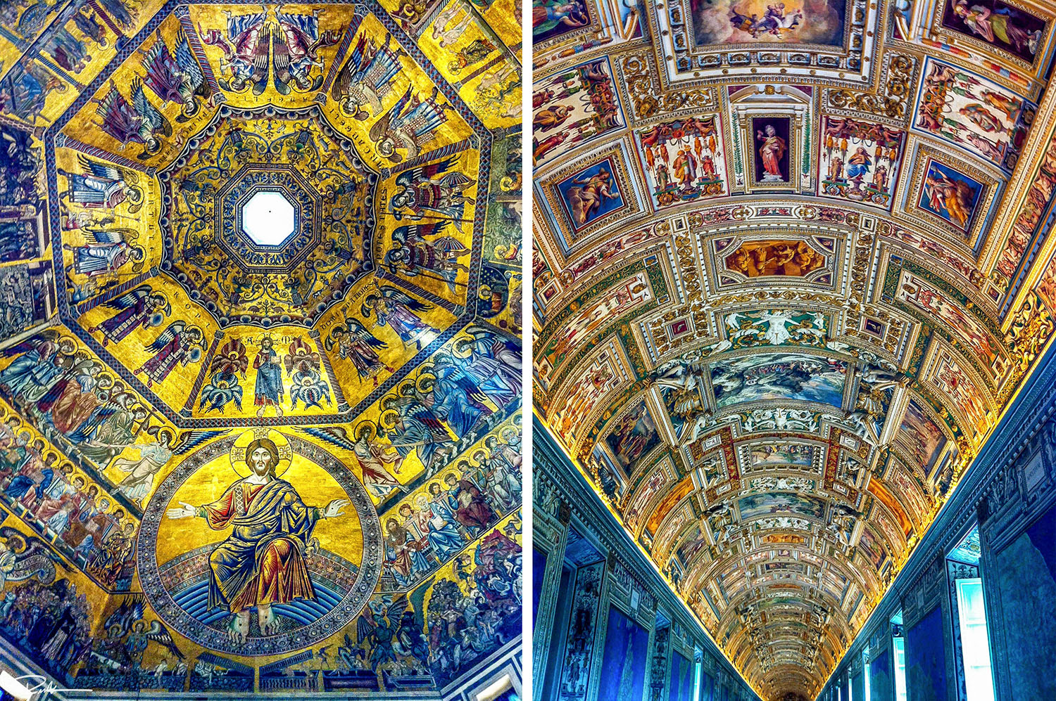 florence battistero and vatican museum ceilings