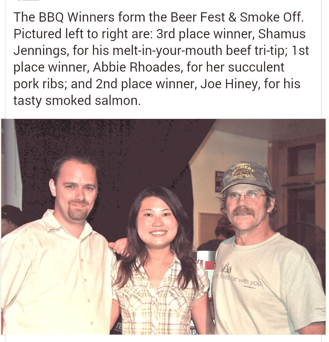 Winners of the BBQ competition at the 2011 SoHum BBQ Smoke-off.
