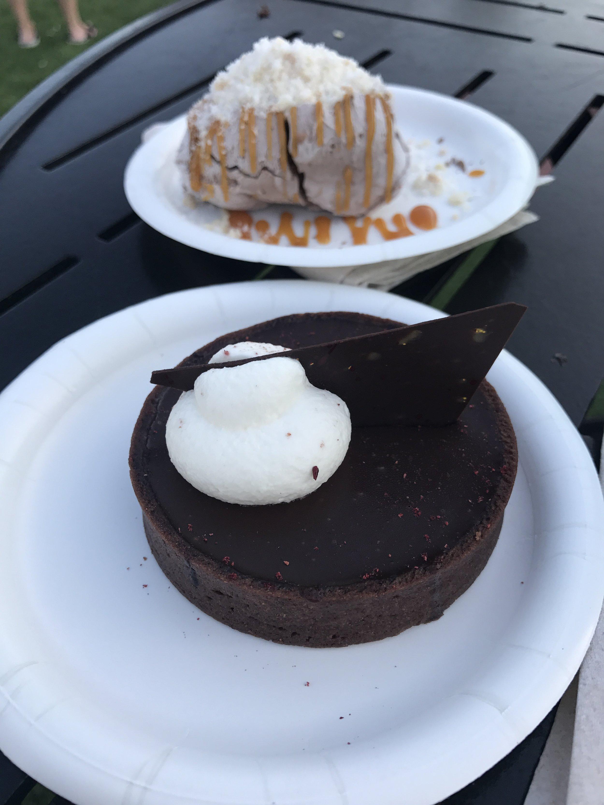 Liquid Nitro Chocolate-Almond Truffle and Dark Chocolate Raspberry Torte