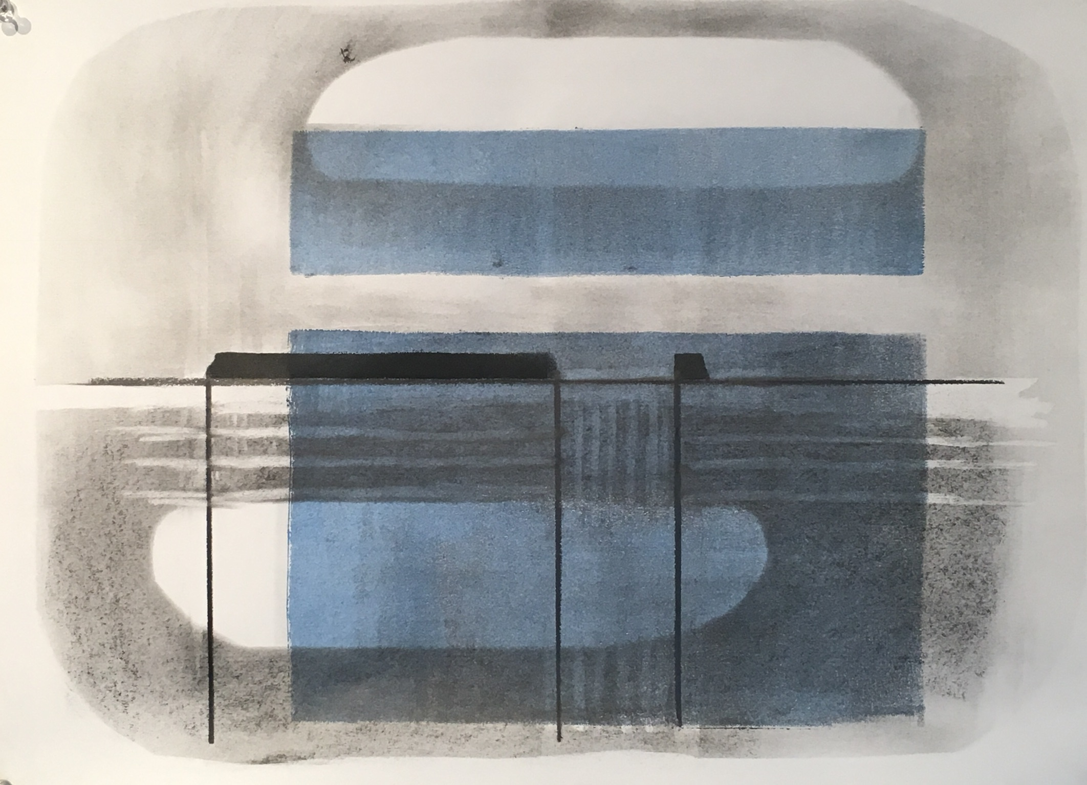 Cloud, fog, horizon, island, ice, extraction, subsea, unseen, miasmarine   13 x 19 acrylic and graphite on paper