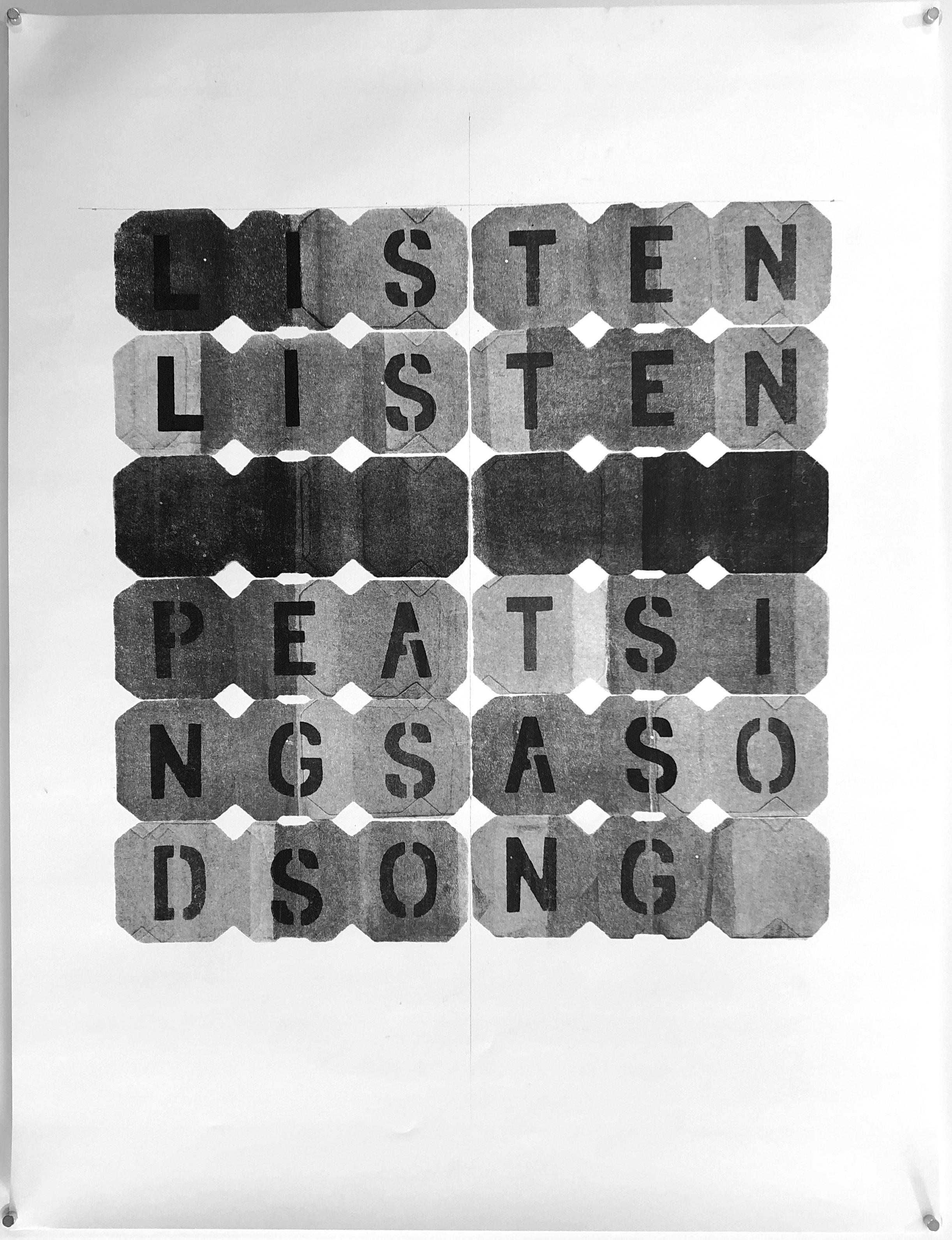 "LISTEN - 2018, acrylic on paper, hand-cut stencil. 25"" x 19"""