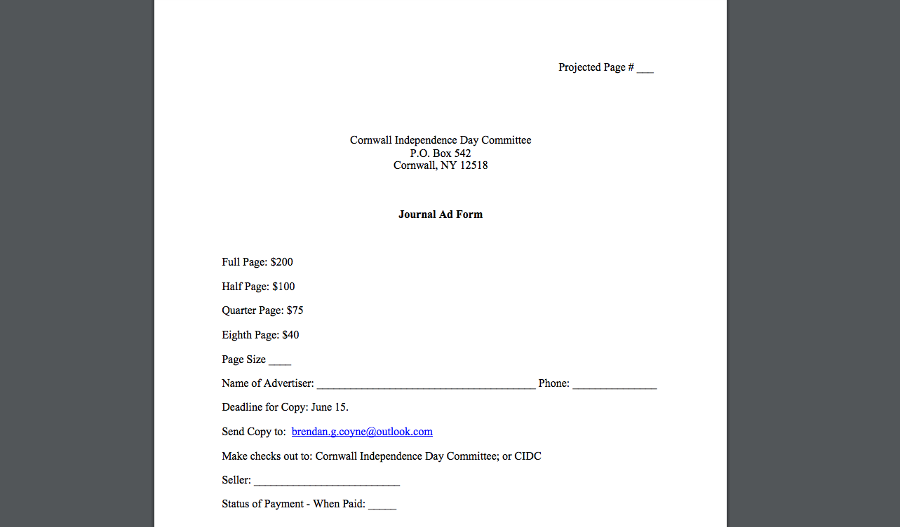 Journal Ad Form -