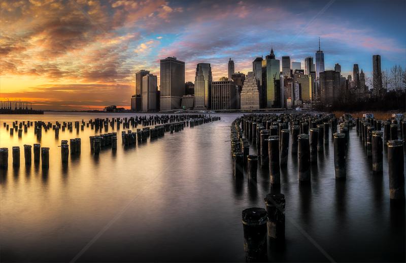 Manhattan Financial skyline