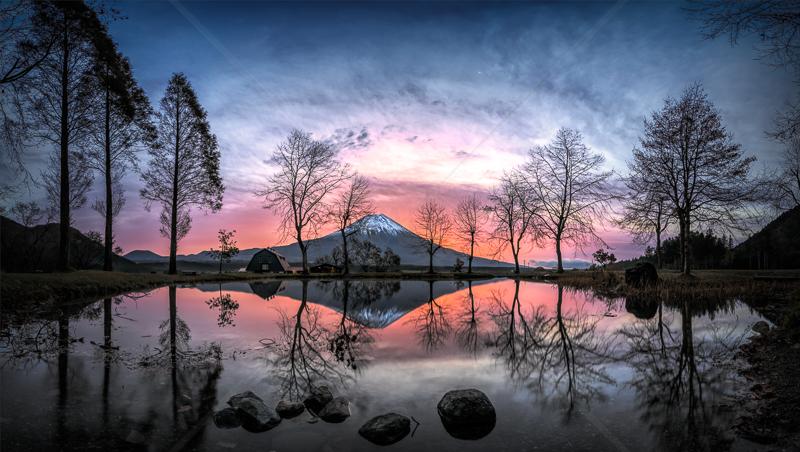 Sunrise behind Mt Fuji