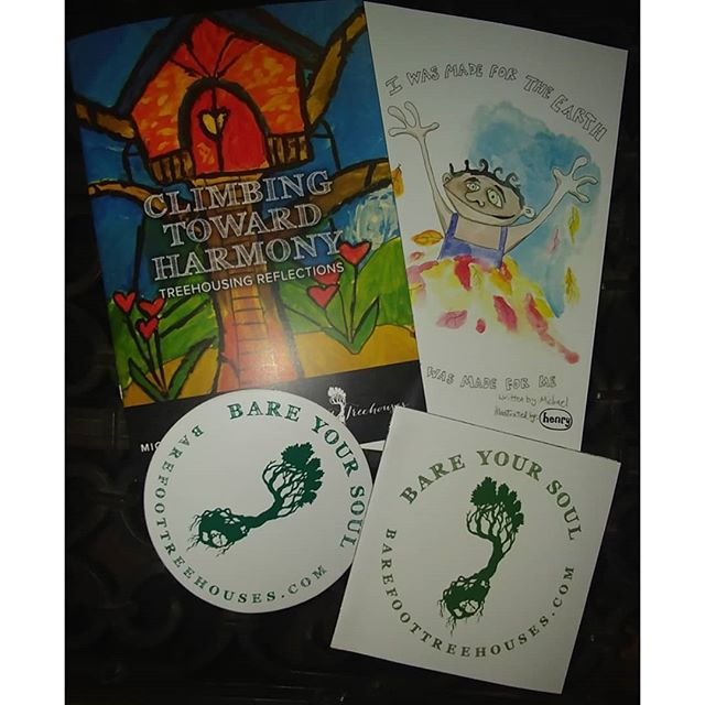 """""""Climbing toward harmony"""" treehouse book is done and printed! 32 pages of color photos of barefoot builders Treehouses and a few essays on building. $5 per copy shipped in u.s. or 3 for $10. Mix and match with our children's book """"I was made forthe Earth."""" Every order gets a sticker and a mini treehouse book as well! #treehouse #book #philosophy #childrensbook #harmony dm me for orders. Thank you!"""