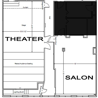 A blueprint of our theater and salon space
