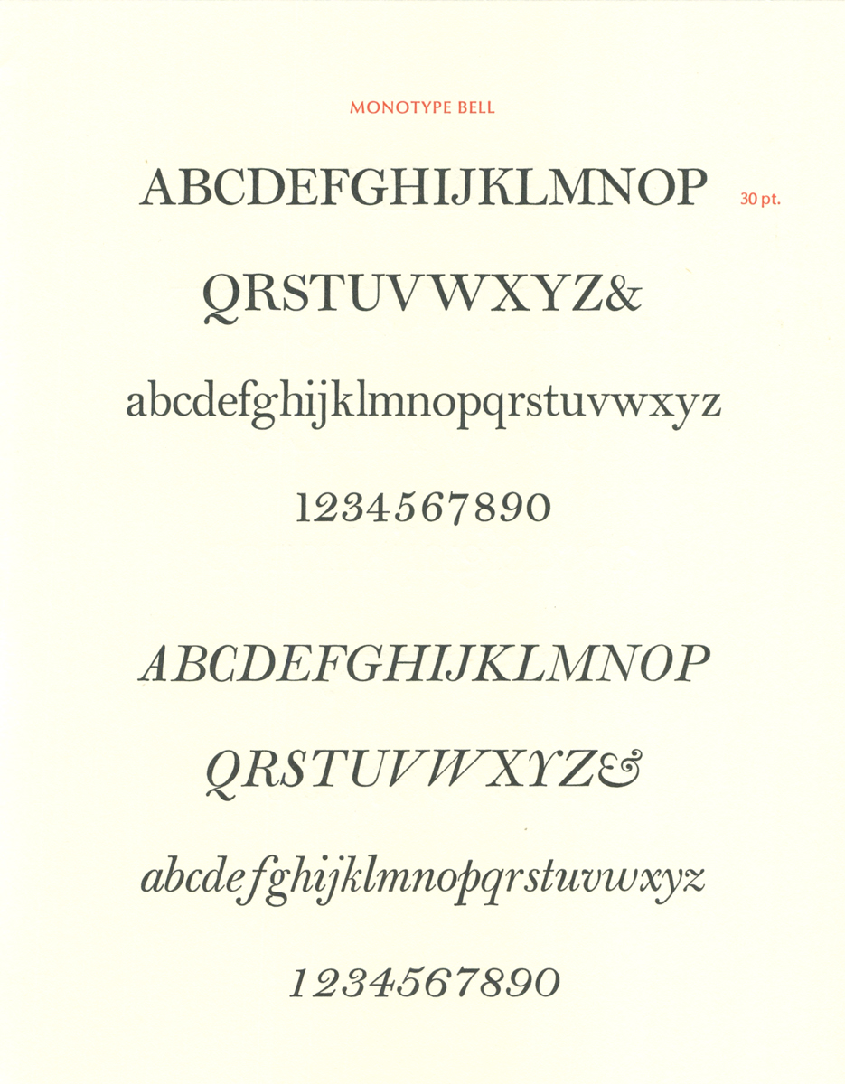 Monotype Bell, the way it should look