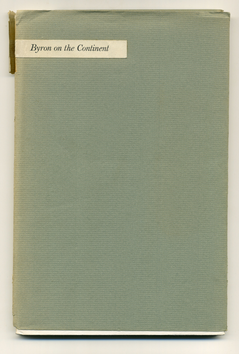Cover:Byron the Continent, The Carl H. Pforzheimer Library