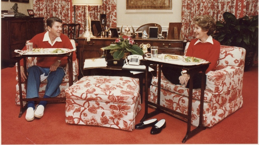 President Ronald Reagan and Nancy Reagan with fancy TV trays
