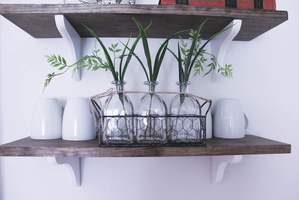 3 glass vases with wire basket: TJ Maxx  Greenery: Michael's Craft Store