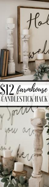 $12 Farmhouse Candlestick Hack