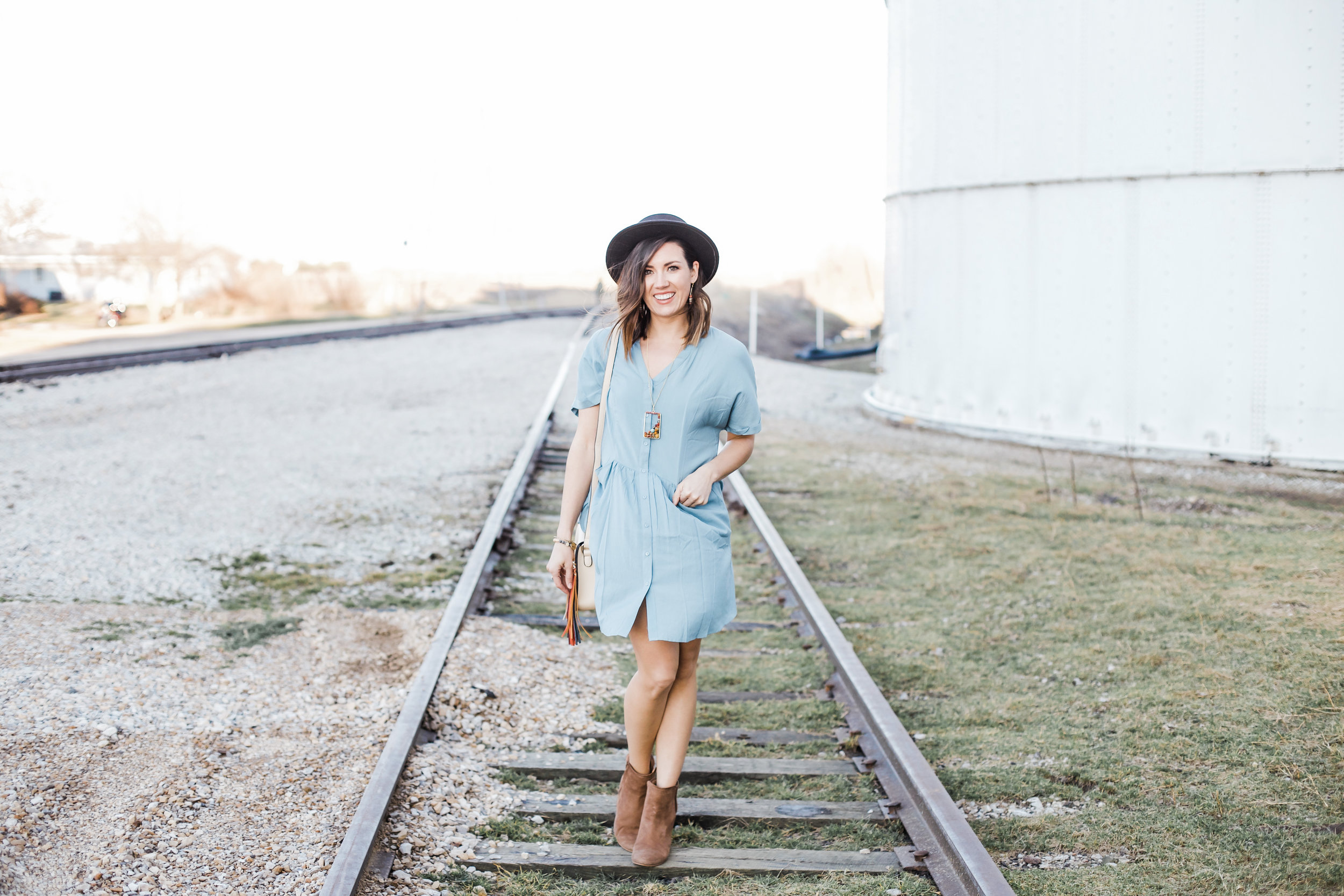 Blue Button Up Dress